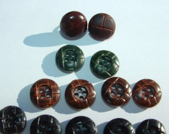15 Leather Look Buttons