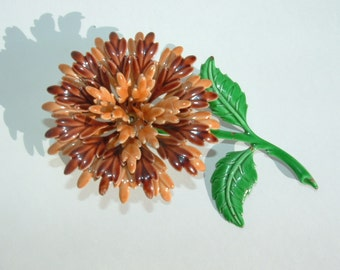 Large Enamel Chrysanthemum Brooch, Mum , Flower Brooch
