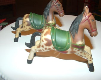 2 Brown Appaloosa Horses with Green Saddles Cowboy decor Collectibles