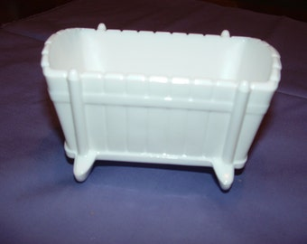 Milk Glass Baby Cradle Planter or Organizer Holder, Baby shower gift, Prop, Table Centerpiece