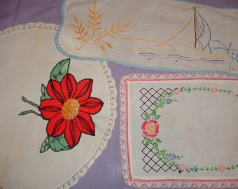 3 Vintage Embroidered and Appliqued Doilies