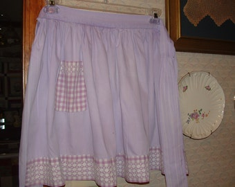 Purple Apron with  Hand embroidery on gingham check pocket and edge