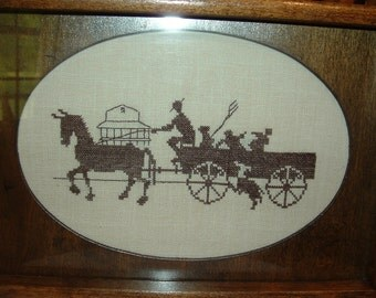 Vintage Handmade Cross Stitch Horse and Farm Wagon Silhouette under glass Wood Tea Tray