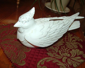 Large White Porcelain Cardinal Bird with glitter for Christmas decoration painting  project