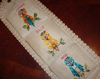 Rattan Owl pocket  Bill and Letter Owl Pocket Letter Holder Woven
