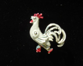 Red and White Enamel Rooster Brooch