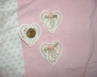 3 Battenburg Lace Heart with Pink Rose Bud and pearls button covers for Blouse, Sweater, or Pillow