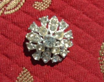 SALE      Vintage Round Crystal Rhinestone Brooch
