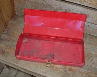 Rustic Red Metal Tool Box