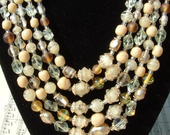 SALE...... 5 Strand Glass Bead Necklace with Champagne ,clear , and Light Brown, 1950s