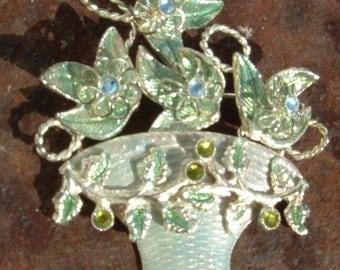 Enamel Flower Basket with Rhinestones Brooch