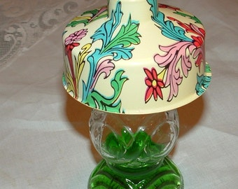 Glass Perfumed Toilet Water bottle lamp shaped with Floral Plastic Shade