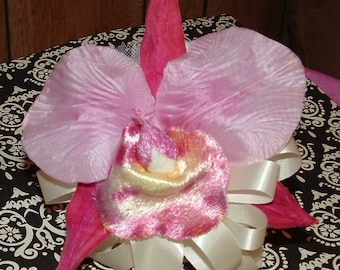 Vintage Pink Velvet Corsage with Ivory ribbon Bow and Pink pin