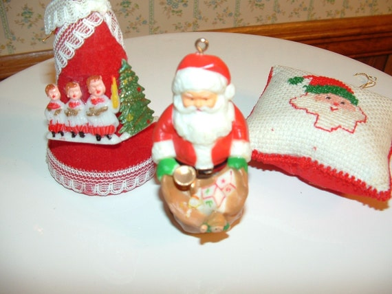 Vintage Bell Pillow and Santa Ornaments