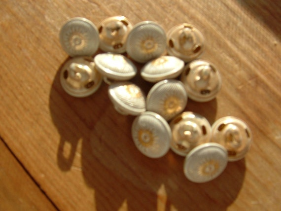 14 Starburst  White and Gold Metal Buttons