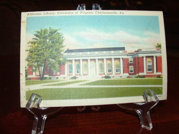 Sale......Alderman Library , Univ of Va , Charlottesville, Va. linen postcard , Used Card