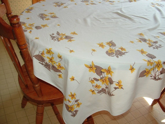 58'' x 54'' Rectangle Linen White background Yellow with Brown Leaves Wild Flowers Tablecloth