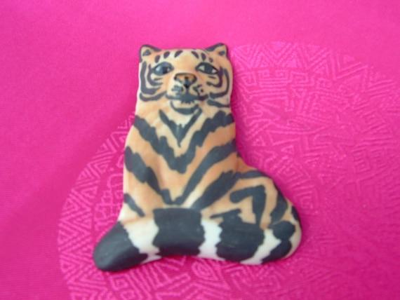 Vintage Handmade Porcelain Tiger Brooch