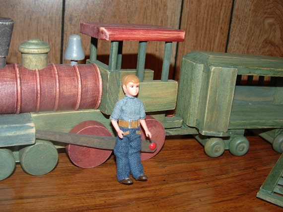 Hold for Tami        Large Vintage Green and Brown Wooden Train with Boy Figure