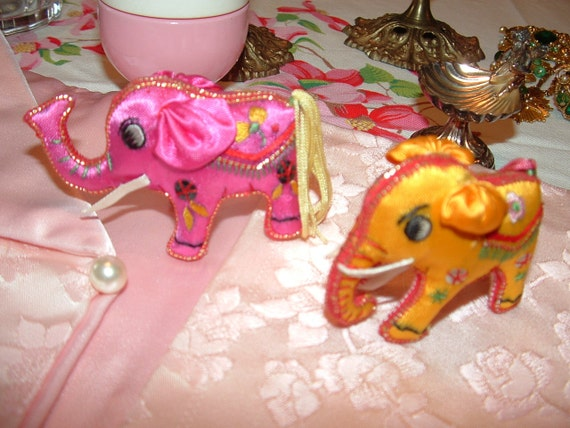 Pink and Yellow Embroidered Silk Elephant ornaments