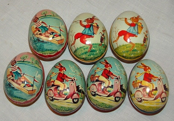 7 Easter Eggs made in Switzerland tin litho