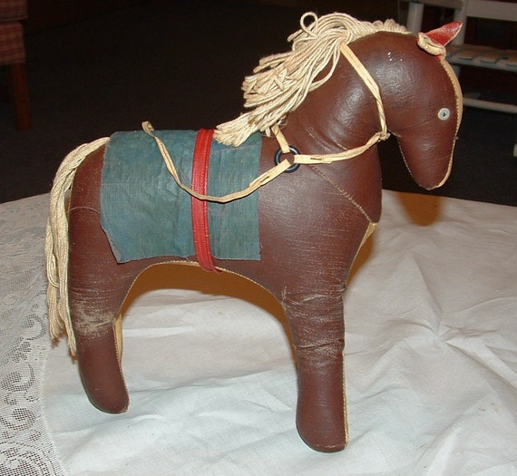 1920s Antique Brown and Beige oilcloth Horse with Button Eyes Blue Blanket Saddle String Mane and Tail