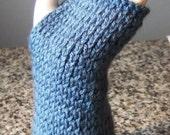Blue wrist warmers/ fingerless gloves