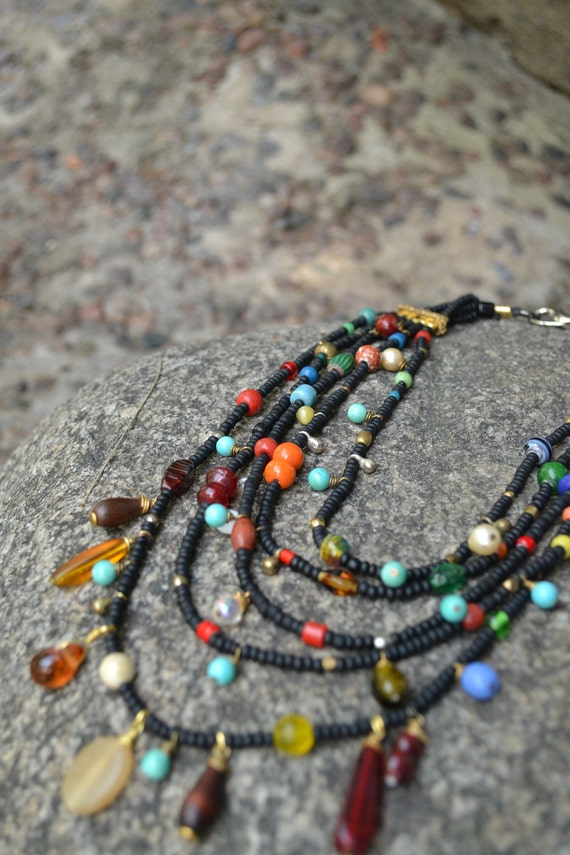 Necklace Multi strand black seed beads and mixed glass beads African and Indian Inpired