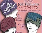 ON SALE Vintage 1920's Flapper Hat e-Patterns (Marjorie Set)