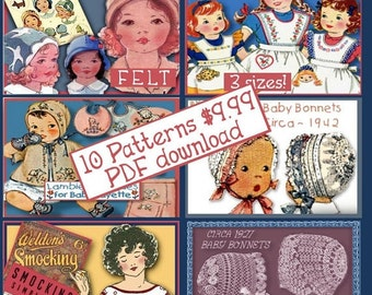 10 CLASSIC Child PATTERNS Sweet Clothes Hat Bonnet Toy Doll Bib Booties Layette Smock Apron Tat Vintage PDF ePattern download
