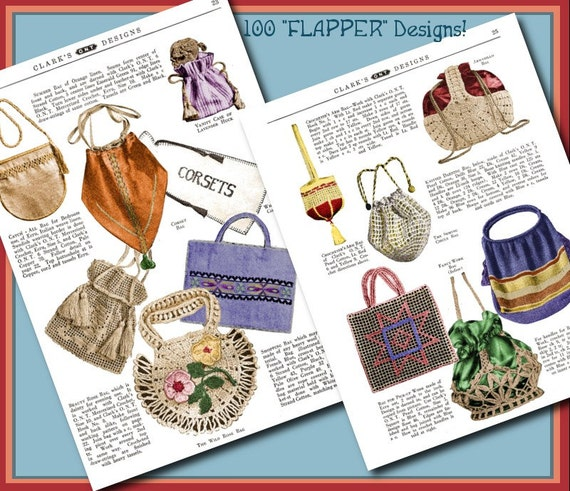1920s Patterns – Vintage, Reproduction Sewing Patterns  100 Flapper Bags and Purses 1920s Vintage e-Booklet PDF $3.99 AT vintagedancer.com