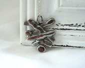Sunset - Oxidized sterling silver and red spinel Pendant