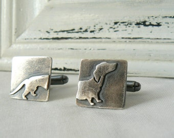 Dachshund Cufflinks - Sterling silver