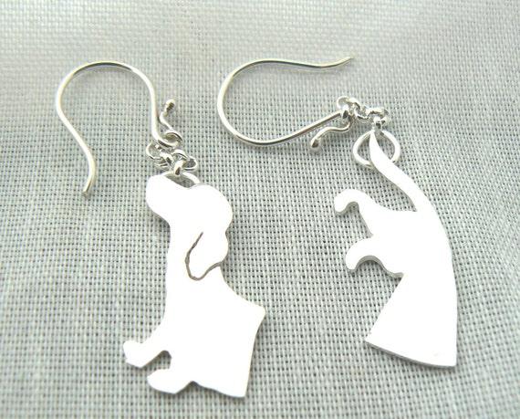 Dachshund Earrings - Sterling silver