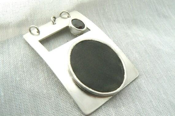 SALE - Black Leather and Garnet Pendant - SALE