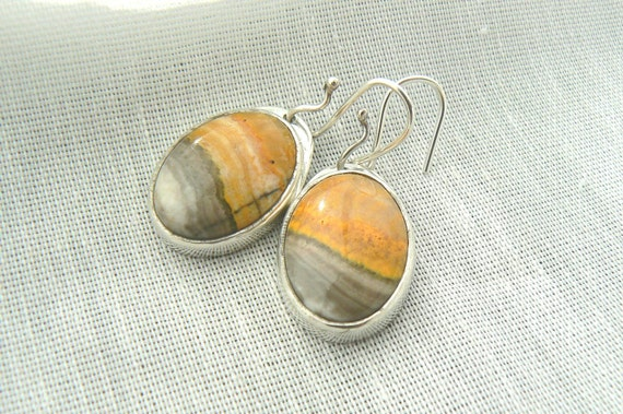 Egg Yolk - Sterling and Mustard Jasper Earrings - READY TO SHIP