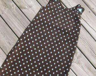 Maryjane Sleep Sack - 6-12mo - Dark Brown with Blue Dots