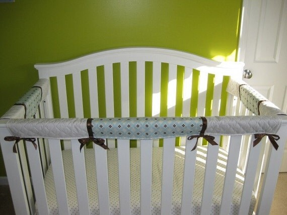 Crib Teething Guards for Convertible Cribs - 3pc Light Blue, Cream, and Brown