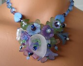 Spring Cleaning Sale, Blue Flower Necklace, Purple Flower Necklace, Statement, Wedding, Bridal, Bridesmaid, Free Shipping