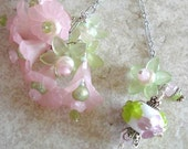A Floral Fantasy in Pink  - Lampworked Glass Chalcedony Sterling Statement Necklace - Free Worldwide Shipping