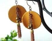 Rustic Leather and Vintage Tassel Earrings, SPICY MUSTARD, bohemian jewelry