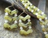 Ladder style bracelet and earrings set, Chevron, celery green, white, jewelry set