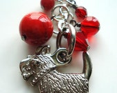 Purse Charm, Zipper Pull, Scotty, Keychain, Scotty Dog, Puppy, Puppy love, Red, Silver