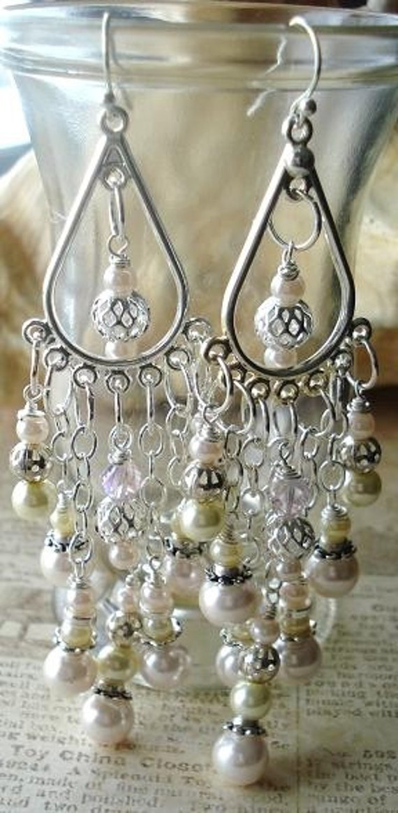 Chandelier Earrings, Glass Pearl, Pale Pink and Ivory