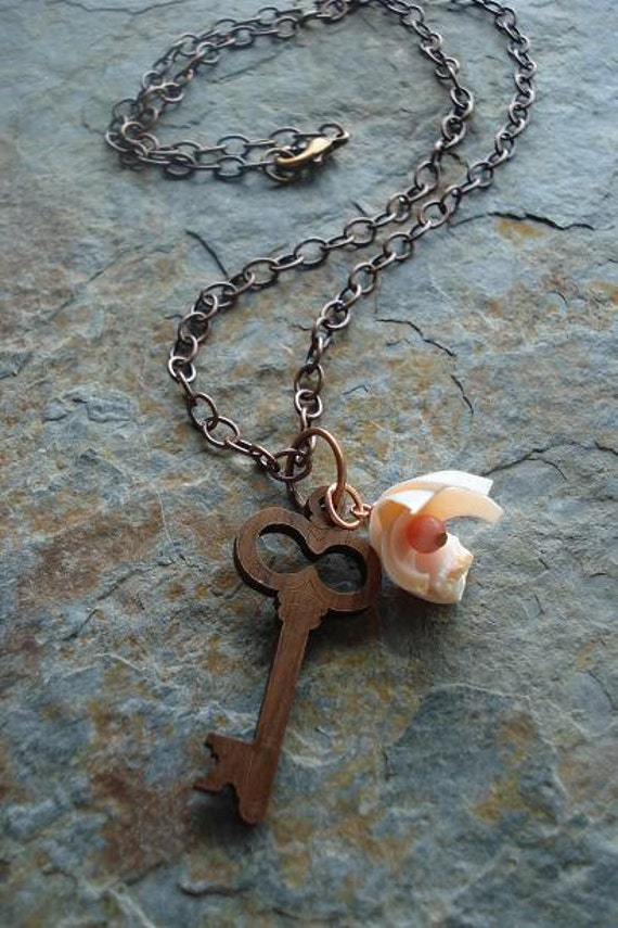 Wooden Key necklace, seashell flower, KEY to the SECRET GARDEN