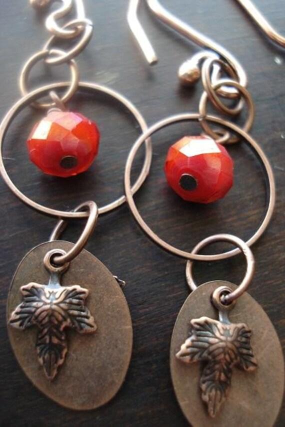 Copper Dangle Earrings, crystal, red, bohemian jewelry