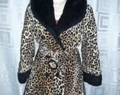 Vintage Mod Leopard Faux Fur Princess Coat 60s Jacket Original Belt S M