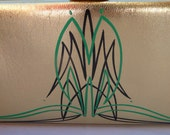 Vintage 50s Gold Clutch Purse Hand Pinstriped in Green and Black