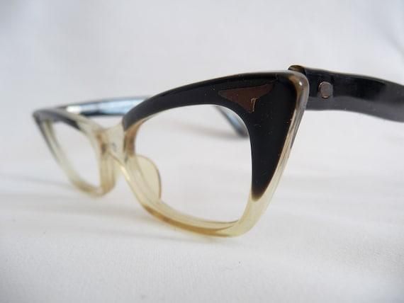 50s Deadstock Vintage Swan Two Tone Cats Eye Eyeglass Frames NOS Eyewear