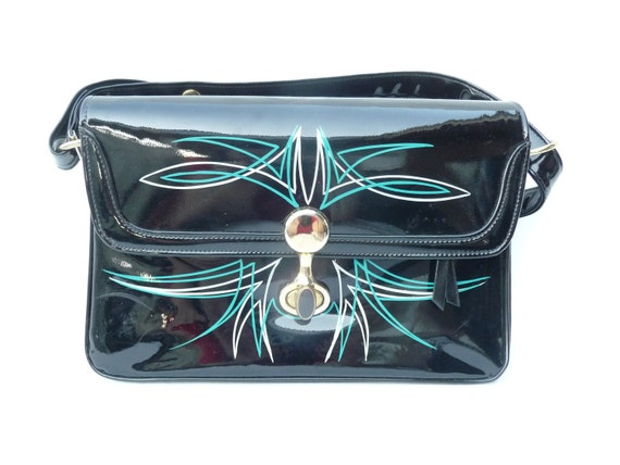 Vintage 1960s Purse Black Patent Hand Pinstriped in Teal and Silver by Empress